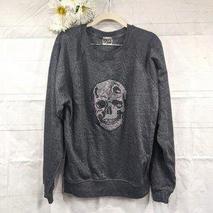 Kings of Cole Skull Bedazzled Gray Sweatshirt SZ S